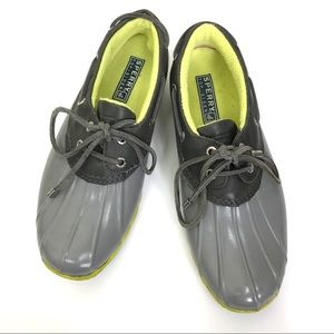 Sperry Galoshes Grey and Lime Green 8